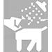 Icone d'un chien blanc sous la douche, prêt pour son toilettage